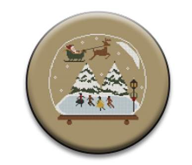 Stitch Dots - Twin Peak Primitives - Skating on the Pond Snow Globe Needle Nanny-Stitch Dots - Twin Peak Primitives - Skating on the Pond Snow Globe Needle Nanny, winter, Christmas, Santa Claus, Rudolph, cross stitch, magnet,