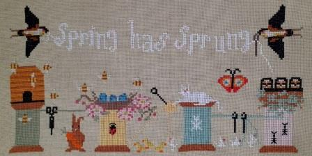 Twin Peak Primitives - Stitching Spring-Twin Peak Primitives - Stitching Spring, flowers, needles, cross stitch