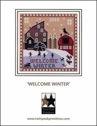 Twin Peak Primitives - Welcome Winter-Twin Peak Primitives - Welcome Winter, snow, barn, ice skating, cross stitch