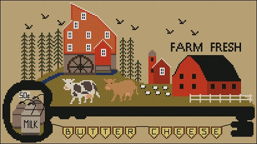 Twin Peak Primitives - Key Village Series - Farm Fresh Milk-Twin Peak Primitives - Key Village Series - Farm Fresh Milk, farm, cows, dairy farm, cross stitch