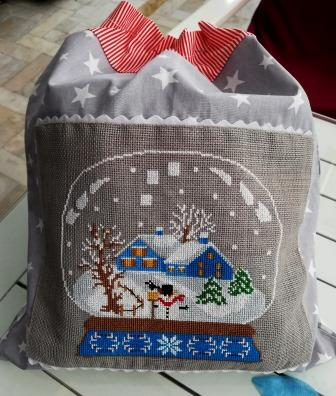 Twin Peak Primitives - Snow Globe - Blue House-Twin Peak Primitives - Snow Globe - Blue Houses, winter, snow, houses, cross stitch, snowman,