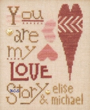 The Trilogy - You are my LOVE Story - Cross Stitch Kit-The Trilogy, You are my LOVE Story, romance, marriage announcement, hearts, wedding, love, Cross Stitch Kit