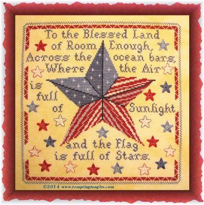 Tempting Tangles - Blessed Land - Cross Stitch Chart-Tempting Tangles,  Blessed Land, American, USA, patriotic, 4th of July,  Cross Stitch Chart