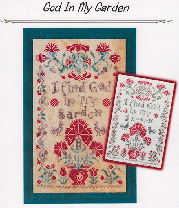 Tempting Tangles Designs - God In My Garden-Tempting Tangles Designs - God In My Garden, praying, flowers, inspirational, cross stitch
