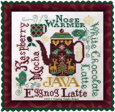 Tempting Tangles Designs - Nose Warmer-Tempting Tangles Designs - Nose Warmer, teapot, hot chocolate, coffee, Christmas, winter, cross stitch