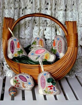 The Tapis Tree - Bunnies Six Crewel Embroidery Kit-The Tapis Tree - Bunnies Six Crewel Embroidery Kit, animals, rabbits, ornaments, sachets, Easter, gifts, Carolyn Barrani,