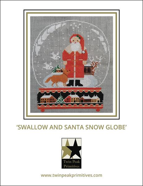 Twin Peak Primitives - 2018 Swallow and Santa Snow Globe-Twin Peak Primitives - 2018 Swallow and Santa Snow Globe, Santa Claus, Christmas story, snow globe, cross stitch