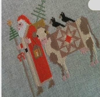 Twin Peak Primitives - Santa's Trilogy IV-Twin Peak Primitives - Santas Trilogy IV, Santa Claus, cow, ornament, cross stitch