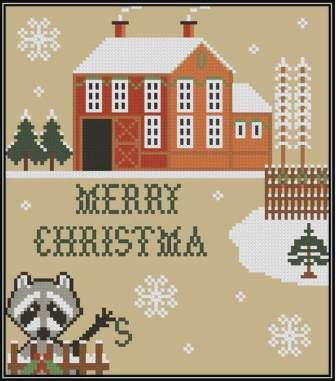 Twin Peak Primitives - Stolen Christmas-Twin Peak Primitives - Stolen Christmas, raccoon, barn snowflakes, cross stitch