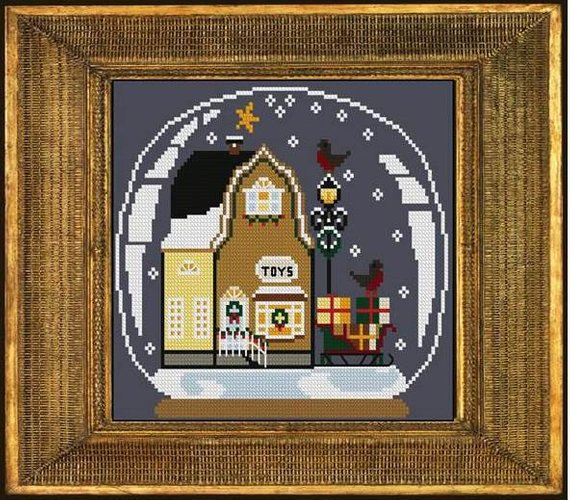 Twin Peak Primitives - Toy Shoppe Snow Globe-Twin Peak Primitives - Toy Shoppe Snow Globe, Christmas, children, toys, stuffed animals, cross stitch