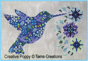 Tam's Creations - Humminpatches-Tams Creations - Humminpatches, Hummingbird, blue, mosaik, cross stitch