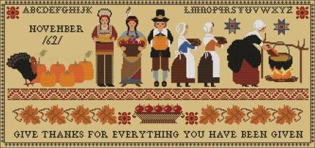 Twin Peak Primitives - Thanksgiving 1621 Sampler-Twin Peak Primitives - Thanksgiving 1621 Sampler, grateful, pilgrims, America, turkey, Indians, settlers, cross stitch