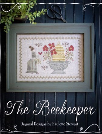 Plum Street Samplers - Beekeeper (The)-Plum Street Samplers - Beekeeper The, beehive, bees, flowers, cross stitch