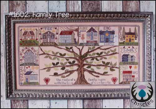 Thistles - Family Tree-Thistles - Family Tree, ancestry, family, heritage, sampler, houses, trees, cross stitch,