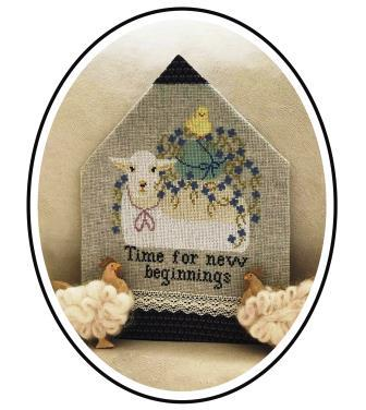 Twin Peak Primitives - Promises of Easter - Time for New Beginnings-Twin Peak Primitives - Promises of Easter Part 1 - Time for New Beginnings, lamb, Spring, renewal, Jesus, promises, cross stitch