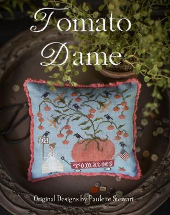 Plum Street Samplers - Tomato Dame-Plum Street Samplers - Tomato Dame, fruit, summer, wagon, cross stitch