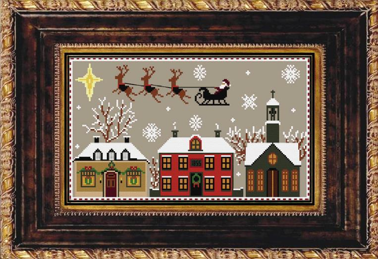 Twin Peak Primitives - Towards to North-Twin Peak Primitives - Towards to North, Christmas Eve, Santa Claus, reindeer, Christmas, cross stitch