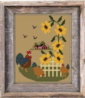 Twin Peak Primitives - Tranquility-Twin Peak Primitives - Tranquility, farm, chickens, sunflowers, barn, cross stitch