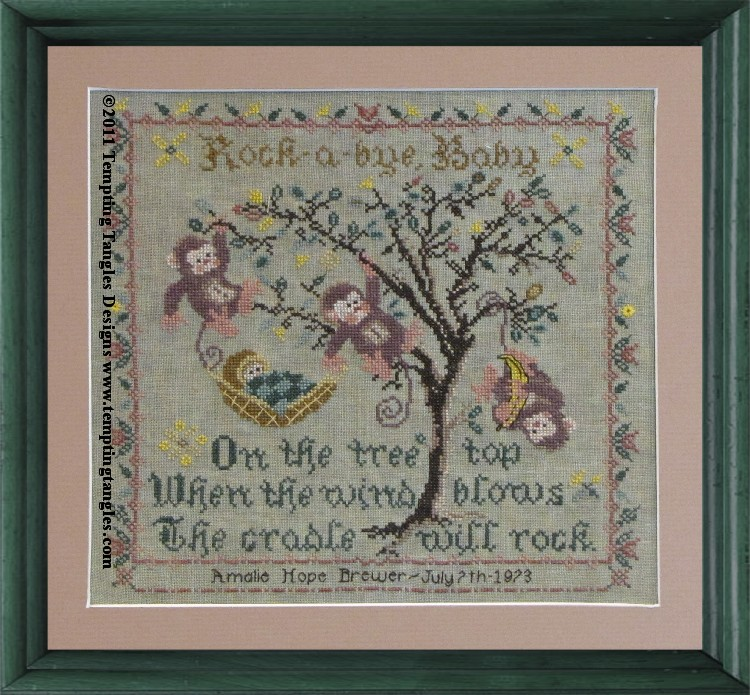 Tempting Tangles Designs - Tree Top Birth Sampler - Cross Stitch Pattern-Tempting Tangles Designs - Tree Top Birth Sampler - Cross Stitch Pattern