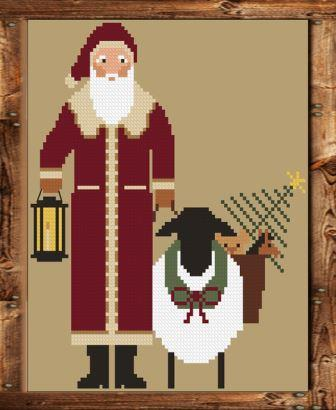 Twin Peak Primitives - 2018 Santa-Twin Peak Primitives - 2018 Santa, Christmas, Santa Claus, sheep, toys, ornament, cross stitch