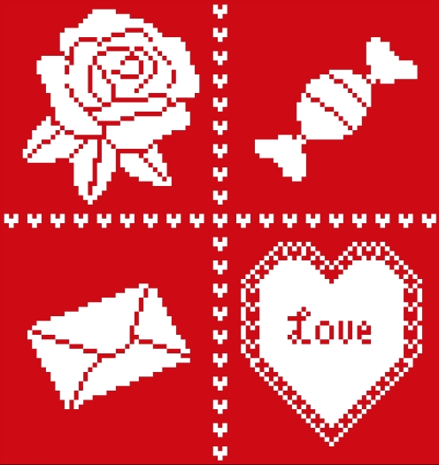 Flowers 2 Flowers - Valentine Square - Cross Stitch Pattern