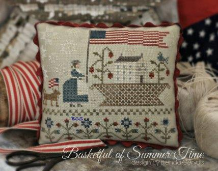 With Thy Needle & Thread - Basketful of Summer Time-With Thy Needle  Thread - Basketful of Summer Time, USA, 4th of July, patriotic, American flag, cross stitch