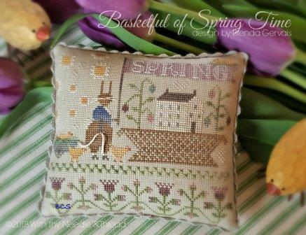 With Thy Needle & Thread - Basketful of Springtime-With Thy Needle  Thread - Basketful of Springtime, BUNNY, FLOWERS, chicks, Easter, cross stitch