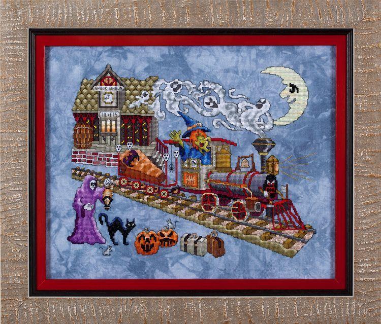 Glendon Place - Eerie Express - Cross Stitch Pattern-Glendon Place, Eerie Express, halloween, scary, monsters, train station, train, pumpkins, ghosts, witch, black cats, bats, full moon, Cross Stitch Pattern