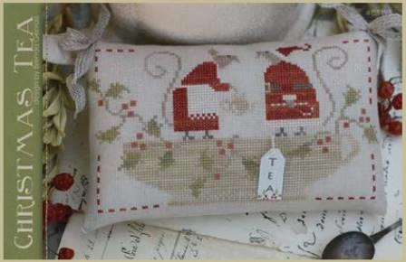 With Thy Needle & Thread - Christmas Tea-With Thy Needle  Thread - Christmas Tea, mice, pillow, tea time, Christmas, friends, cross stitch