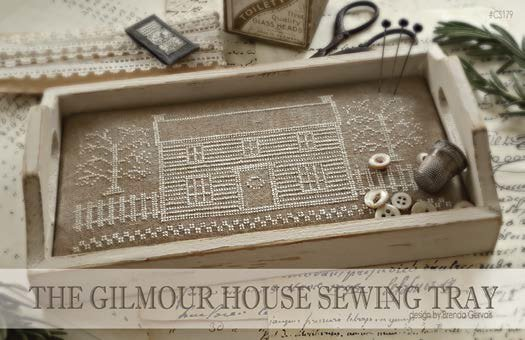 With Thy Needle & Thread - The Gilmour House Sewing Tray-With Thy Needle  Thread - The Gilmour House Sewing Tray, house, notions, wood tray, cross stitch