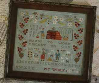 With Thy Needle & Thread - Heart & Hand-With Thy Needle  Thread - Heart  Hand, sampler, love, God, simple, farm