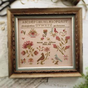With Thy Needle & Thread - Hannah Ann Wallace 1850-With Thy Needle  Thread - Hannah Ann Wallace 1850, sampler, historical, birds, quaker, tent stitch, cross stitch