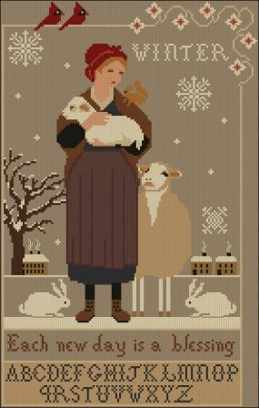 Twin Peak Primitives - Winter Blessing-Twin Peak Primitives - Winter Blessing, hope, grateful, cross stitch