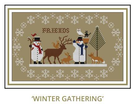 Twin Peak Primitives - Winter Gathering-Twin Peak Primitives - Winter Gathering, forest, animals, friends, snow, trees, snowman, deer, fox, rabbits, cross stitch