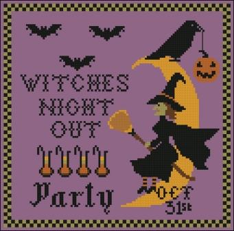 Twin Peak Primitives - Witch's Night Out-Twin Peak Primitives - Witchs Night Out, Halloween, witch, broom, crow, trick or treat, bats, moon, cross stitch