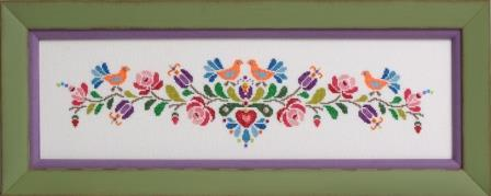 Glendon Place - Hungarian Folk Art No. 2-Glendon Place - Hungarian Folk Art No. 2, flowers, banner, cross stitch