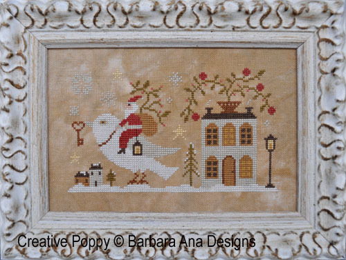 Barbara Ana Designs - Santa, The Dove, And The Key-Barbara Ana Designs, Santa, The Dove, And The Key, Christmas, house, peace, Cross Stitch Pattern
