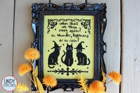 Lindy Stitches - We Three-Lindy Stitches - We Three, cats, kitties, Halloween, black cats, witchs hat, cross stitch