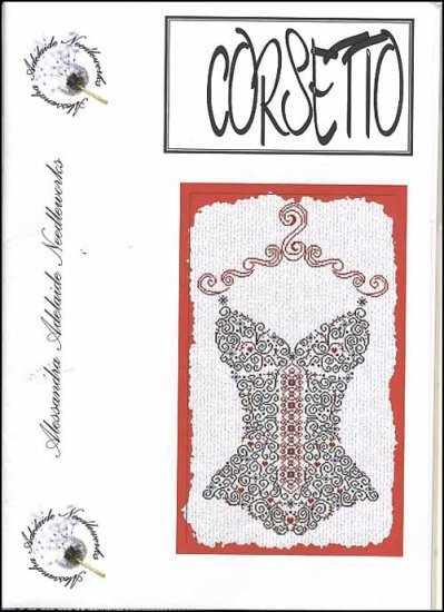 Alessandra Adelaide Needleworks - Corsetto - Cross Stitch Chart-Alessandra Adelaide Needleworks, Corsetto, lingerie, women's. underwear,  Cross Stitch Chart