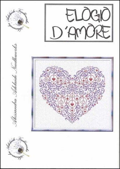 Alessandra Adelaide Needleworks - Elogio D'Amore - Cross Stitch Chart-Alessandra Adelaide Needleworks , Elogio D'Amore, In Praise Of Love,  heart of hearts, love,  Cross Stitch Chart