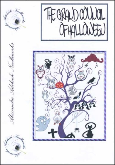 Alessandra Adelaide Needleworks - The Grand Council of Halloween - Cross Stitch Chart-Alessandra Adelaide Needleworks, The Grand Council of Halloween, Halloween tree, fall, trick or treat, bats, cats,  owls, Cross Stitch Chart