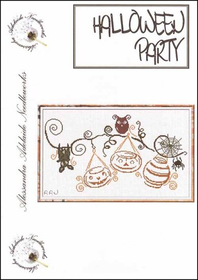 Alessandra Adelaide Needleworks - Halloween Party-Alessandra Adelaide Needleworks, trick or treat, pumpkins, bats, spiders, spider web,   Halloween Party - Cross Stitch Chart