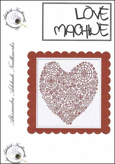 Alessandra Adelaide Needleworks - Love Machine - Cross Stitch Chart-Alessandra Adelaide Needleworks, Love Machine, red heart,romance, sweetheart,  Cross Stitch Chart