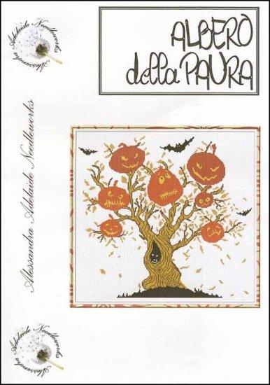 Alessandra Adelaide Needleworks - Albero della Paura - Cross Stitch Chart-Alessandra Adelaide Needleworks, Albero della Paura, pumpkins, Halloween, bats, spooky tree, Cross Stitch Chart