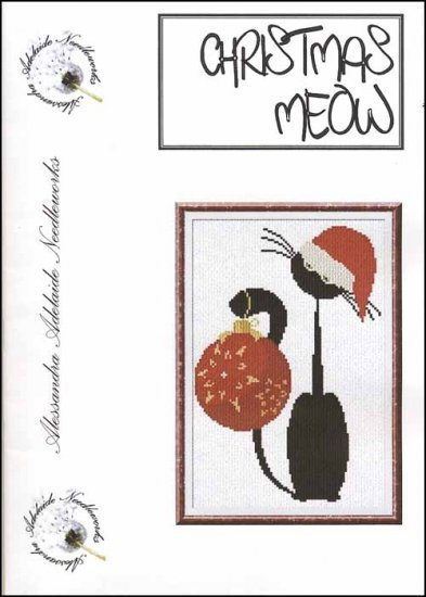 Alessandra Adelaide Needleworks - Christmas Meow - Cross Stitch Chart-Alessandra Adelaide Needleworks, Christmas Meow, kitty, Christmas, Santa hat, red ornament, black cat, Cross Stitch Chart