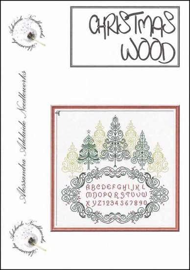 Alessandra Adelaide Needleworks - Christmas Wood - Cross Stitch Chart-Alessandra Adelaide Needleworks, Christmas Wood, Christmas trees, sampler, green trees, forest,  Cross Stitch Chart
