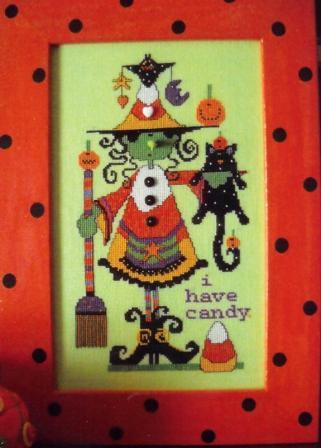 Amy Bruecken Designs - Woneta - Cross Stitch Pattern-Amy Bruecken Designs, Woneta, Halloween, witch, broom, black cat, candy, trick or treat, Cross Stitch Pattern