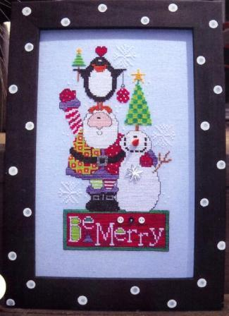 Amy Bruecken Designs - Be Merry - Cross Stitch Pattern-Amy Bruecken Designs, Be Merry, Christmas, Santa Claus, Christmas tree, snowman, penquin, gifts, Cross Stitch Pattern