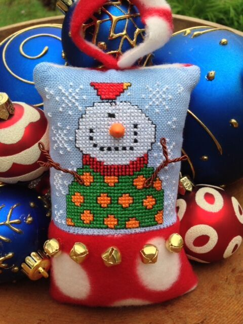 Amy Bruecken Designs - Twigs Kit-Amy Bruecken Designs - Mr. Twig Kit,  snowman, cross stitch, pillow