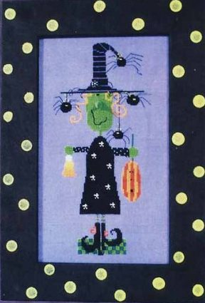 Amy Bruecken Designs - Witchy Poo with Embellishments-Amy Bruecken Designs, Witchy Poo, Halloween, spiders, pumpkin, candy corn, witch, whimsical, Cross Stitch Pattern with Embellishments